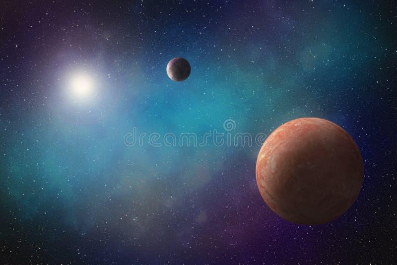 Exoplanets que orbita uma estrela brilhante ilustração stock