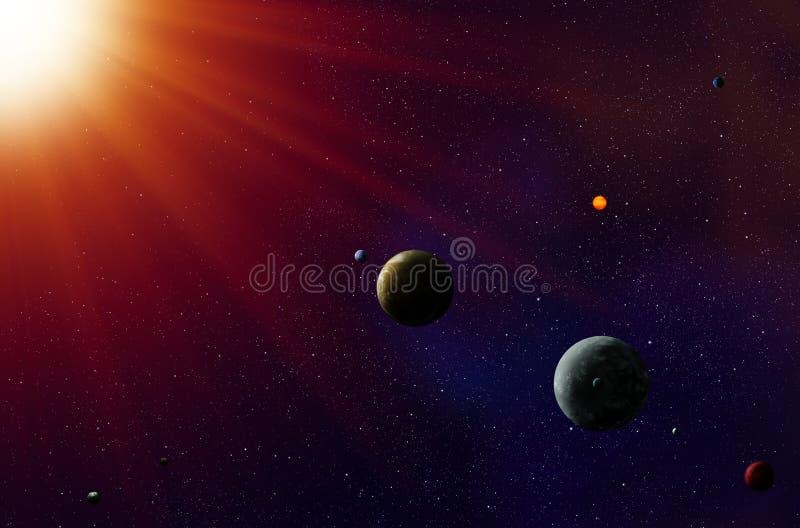 Exoplanets solsystem royaltyfri illustrationer