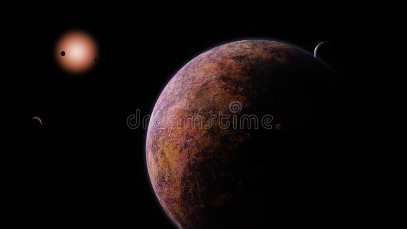Exoplanets som kretsar kring en röd dvärg- stjärna stock illustrationer