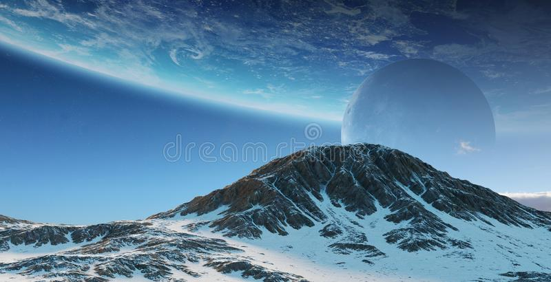Exoplanets in space 3D rendering elements of this image furnished by NASA royalty free illustration