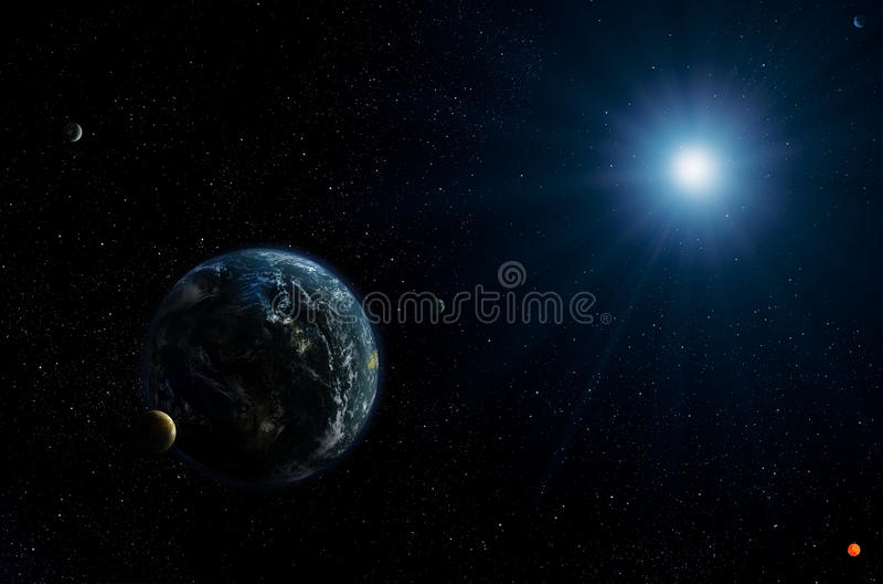 Exoplanets und Stern stock abbildung