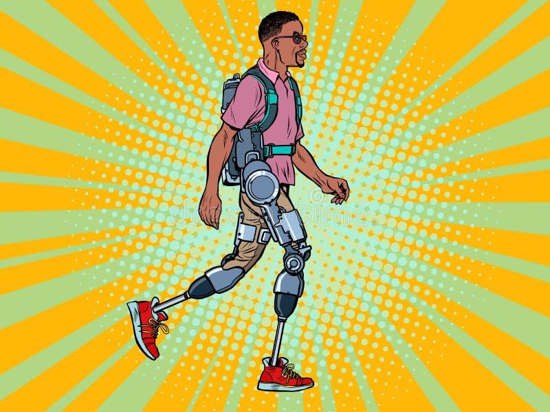 Exoskelet voor gehandicapten afrikaanse man legloze veteraan loopt op herstelbehandeling wetenschap en stock illustratie