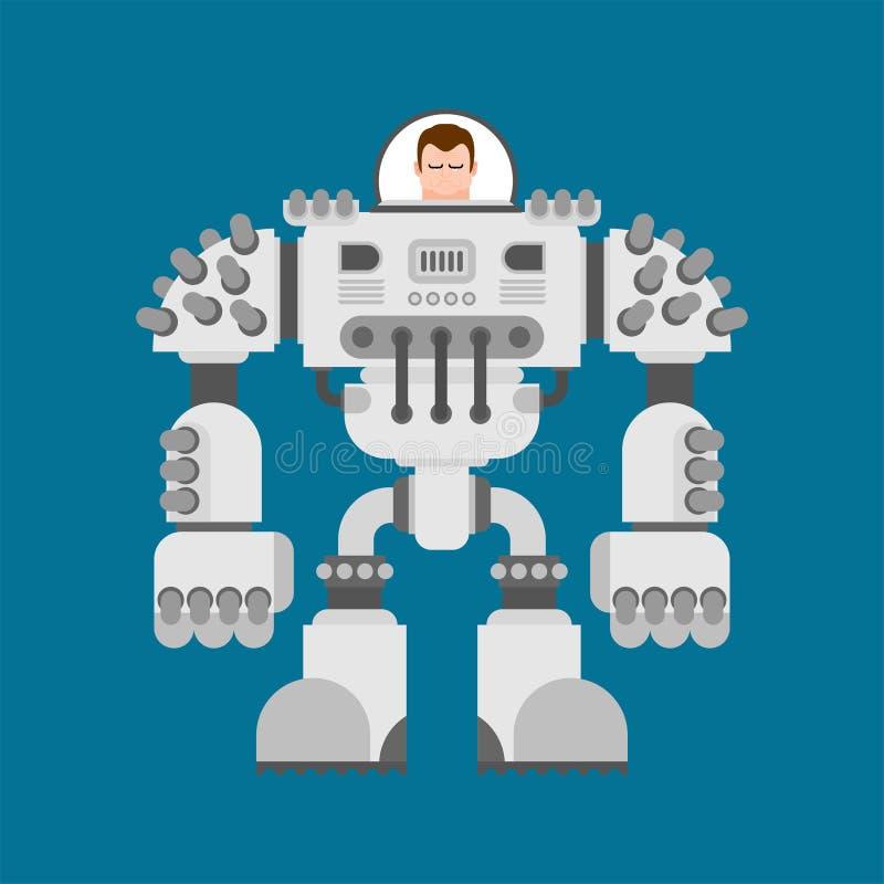 Exoskeleton do robô da batalha Futuro do guerreiro do Cyborg Illustra do vetor ilustração royalty free
