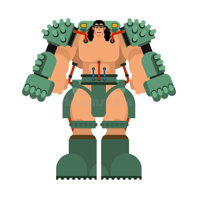 Exoskeleton mechanical technology robotic skeleton. Iron suit robot. Metallic clothing cyborg. Vector illustration.  stock illustration