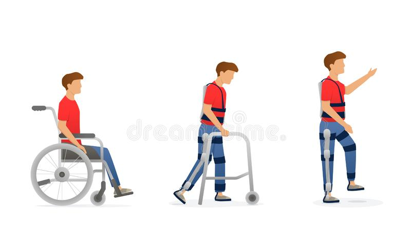 Exoskeleton rehabilitation. Evolution of disabled man. Character on wheelchair, stay with crutches, walking with exosuit. Vector. Illustration stock illustration