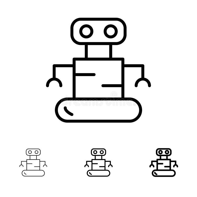 Exoskeleton, Robot, de Ruimte Gewaagde en dunne zwarte reeks van het lijnpictogram vector illustratie