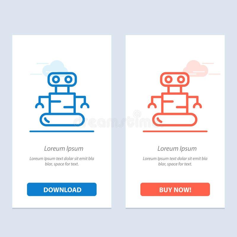 Exoskeleton, Robot, plaatst Blauwe en Rode Download uit elkaar en koopt nu de Kaartmalplaatje van Webwidget royalty-vrije illustratie