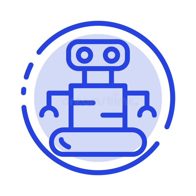 Exoskeleton, Robot, Space Blue Dotted Line Line Icon vector illustration