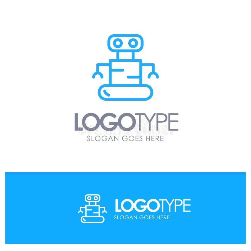 Exoskeleton, Robot, Space Blue Outline Logo Place for Tagline stock illustration