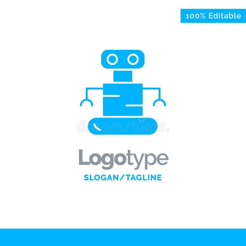 Exoskeleton, Robot, Space Blue Solid Logo Template. Place for Tagline stock illustration