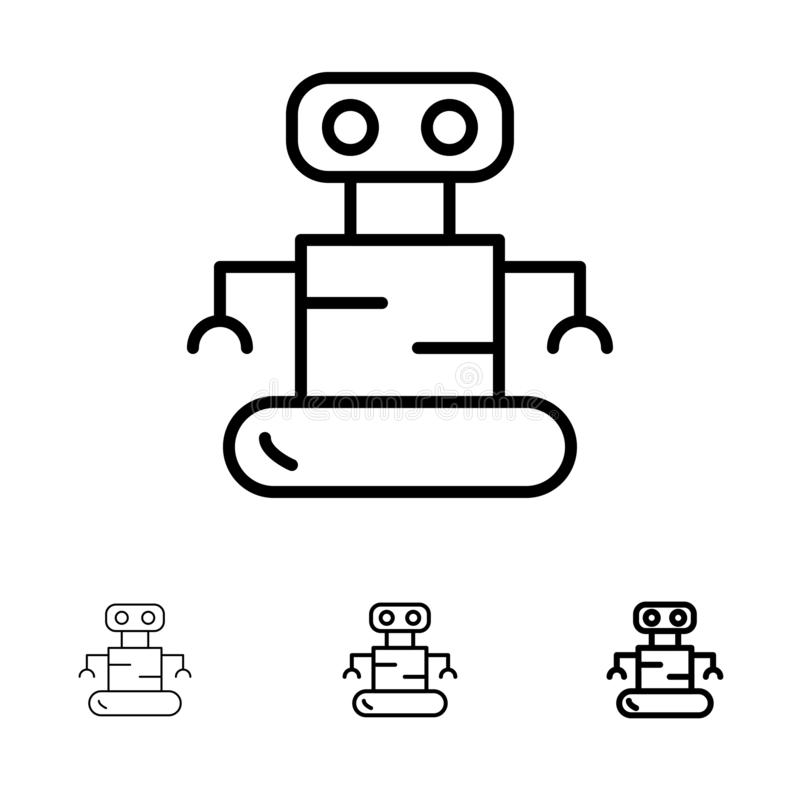Exoskeleton, Robot, Space Bold and thin black line icon set vector illustration