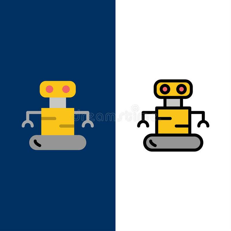 Exoskeleton, Robot, Space  Icons. Flat and Line Filled Icon Set Vector Blue Background royalty free illustration