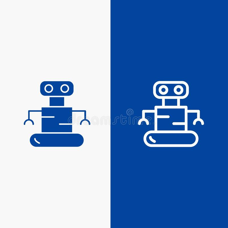 Exoskeleton, Robot, Space Line and Glyph Solid icon Blue banner Line and Glyph Solid icon Blue banner vector illustration