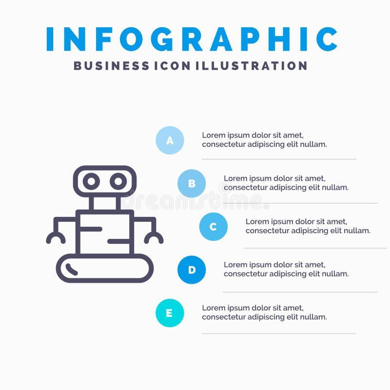 Exoskeleton, Robot, Space Line icon with 5 steps presentation infographics Background royalty free illustration