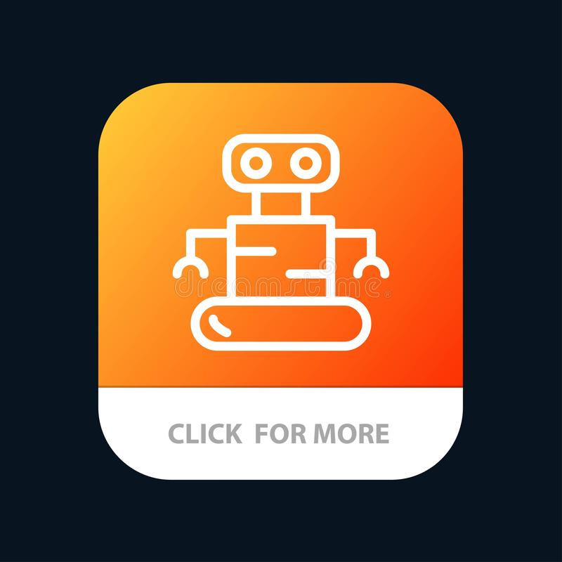 Exoskeleton, Robot, Space Mobile App Button. Android and IOS Line Version vector illustration