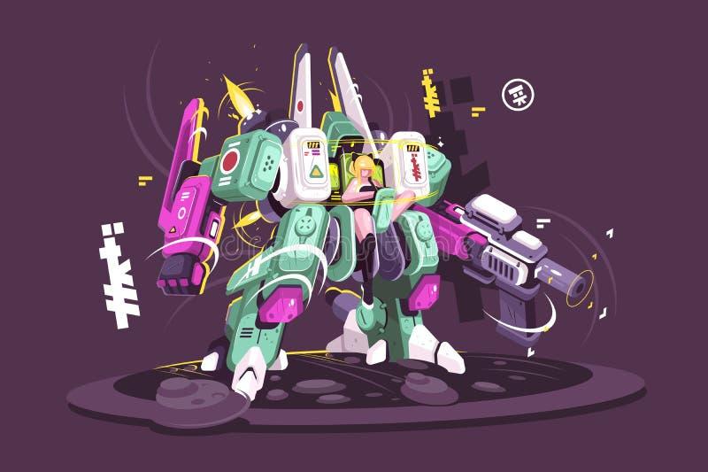 Exoskeleton vestindo da moça ilustração stock