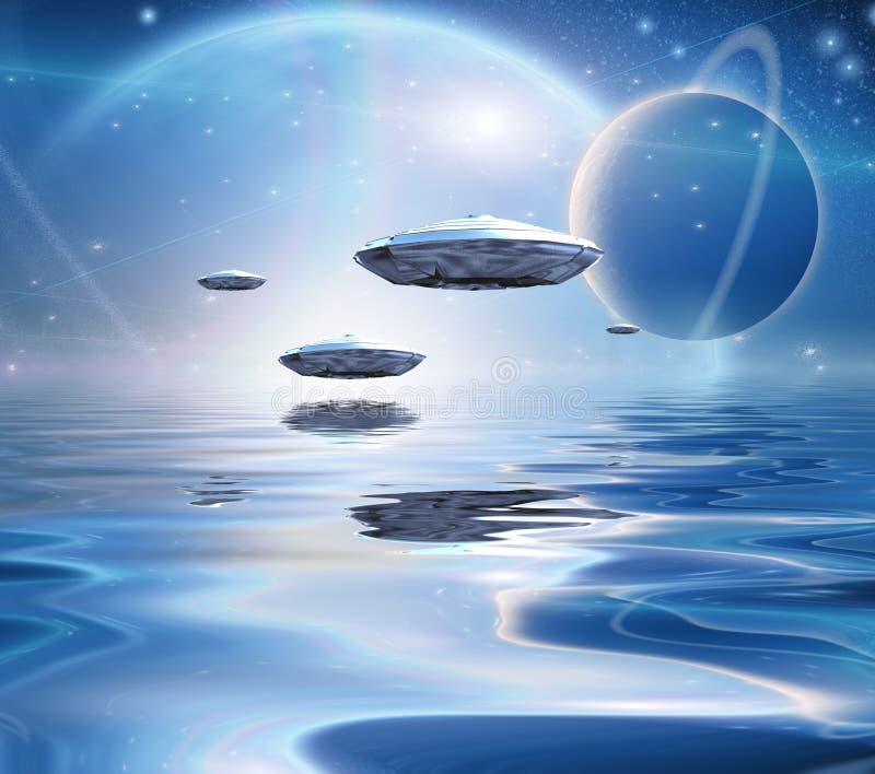 Exosolar在安静的水的行星上升 向量例证