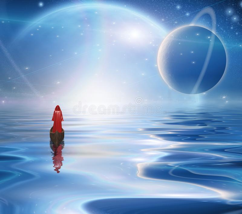 Exosolar Planets Rise over quiet waters. Figure in red cloak floats in boat vector illustration