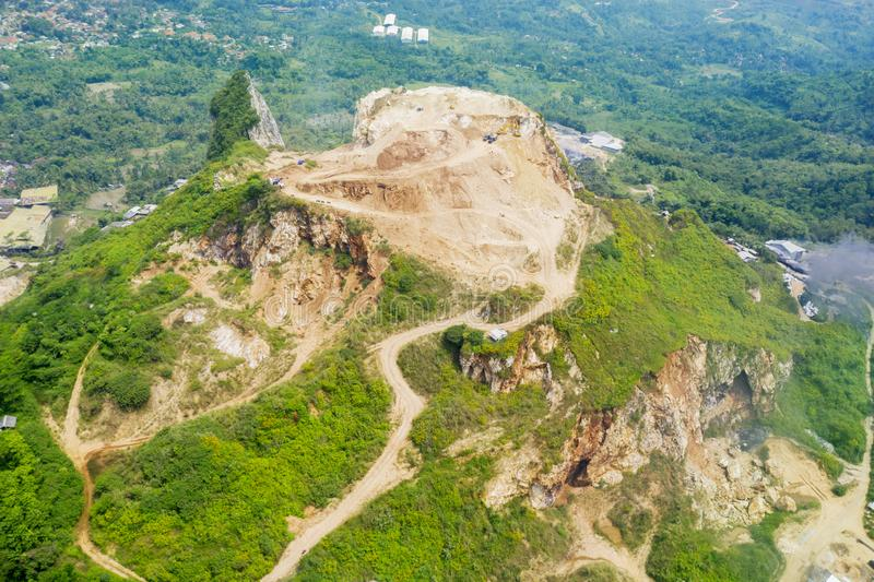 Aerial view of chalk mining on the hill. Near the Stone Garden site peak in Bandung, Indonesia stock photo