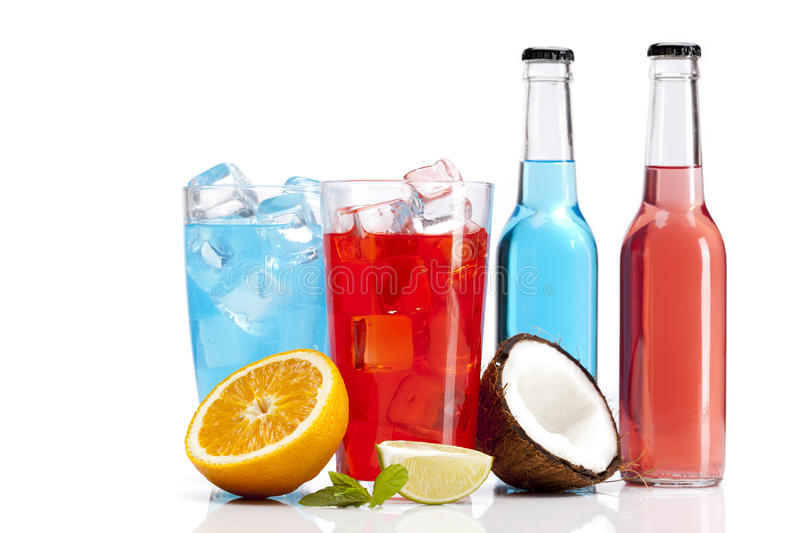 Exotic Alcohol Drinks Set With Orange And Coconut Stock Photo