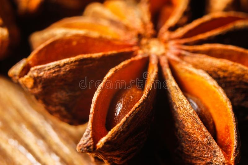 Exotic asian spice star anise stock photo