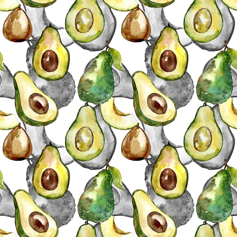 Exotic avocado wild fruit in a watercolor style pattern. Full name of the fruit: avocado. Aquarelle wild fruit for background, texture, wrapper pattern or menu stock illustration