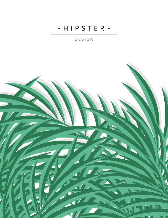 Download Exotic Background With Green Palm Leave For Design Hipster Stock Vector