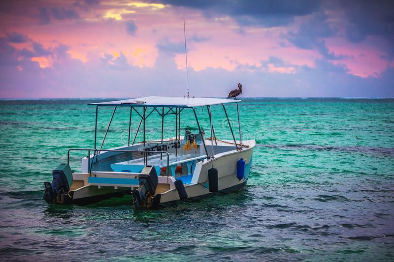 Exotic Beach boat in Dominican Republic, Punta cana royalty free stock image