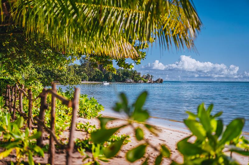 Exotic beach framed with tropical vegetation, La Digue Island, Seychelles. Summer vacations holidays in paradise stock photos