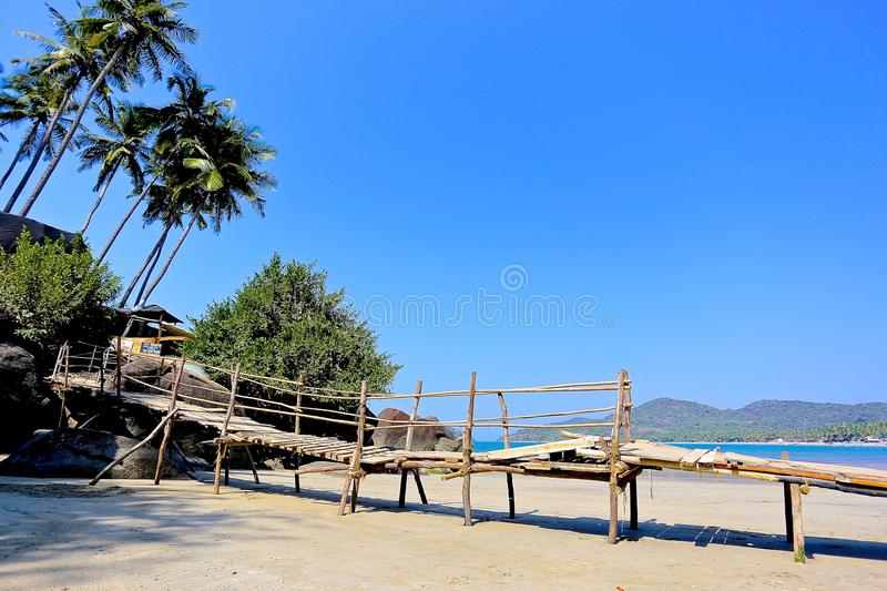 Exotic beach in India. Exotic beach with palm trees in India stock photography