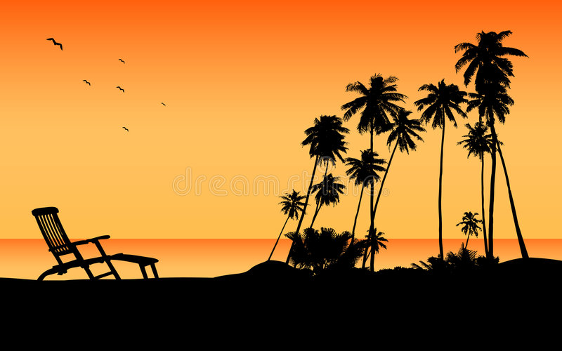 Exotic beach travel destination stock illustration