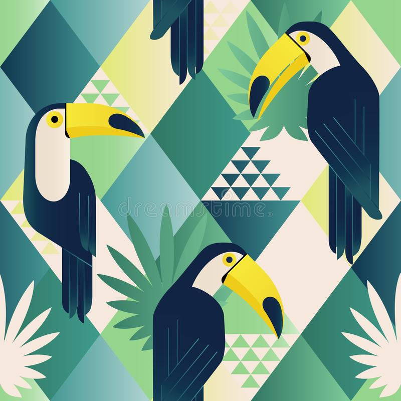 Exotic beach trendy seamless pattern, patchwork illustrated floral tropical banana leaves. Jungle pink flamingos stock illustration