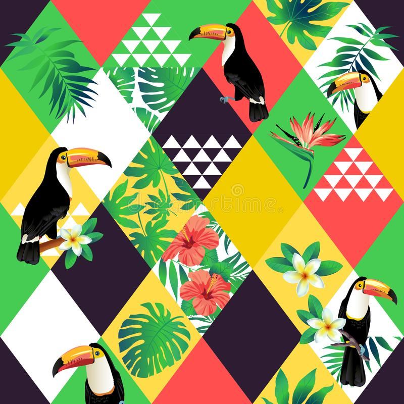 Exotic beach trendy seamless pattern, patchwork illustrated floral vector tropic leaves. Jungle pink toucan. Wallpaper print background mosaic