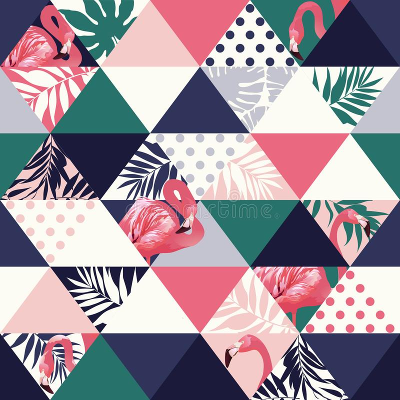 Exotic beach trendy seamless pattern, patchwork illustrated floral vector tropical banana leaves. Jungle pink flamingos stock illustration