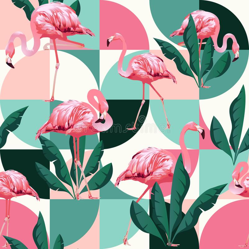 Exotic beach trendy seamless pattern, patchwork illustrated floral vector tropical banana leaves. Jungle pink flamingos. stock illustration