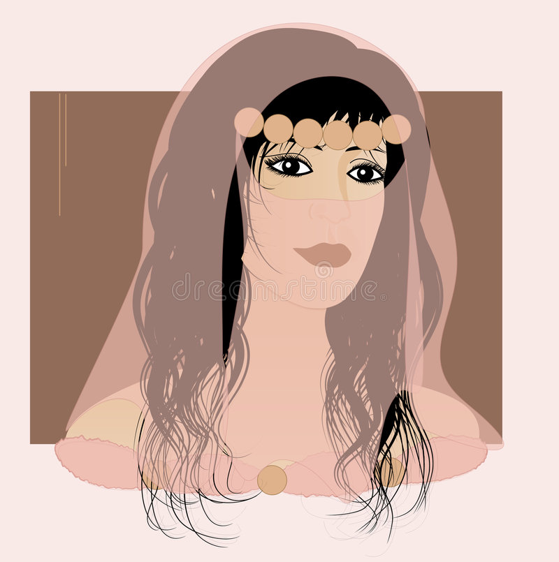 Exotic beautiful arabian girl royalty free illustration