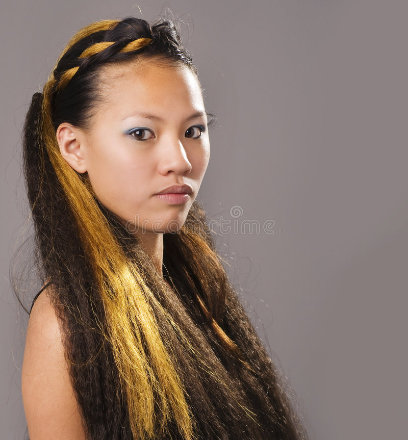 Exotic beautiful young woman royalty free stock photography