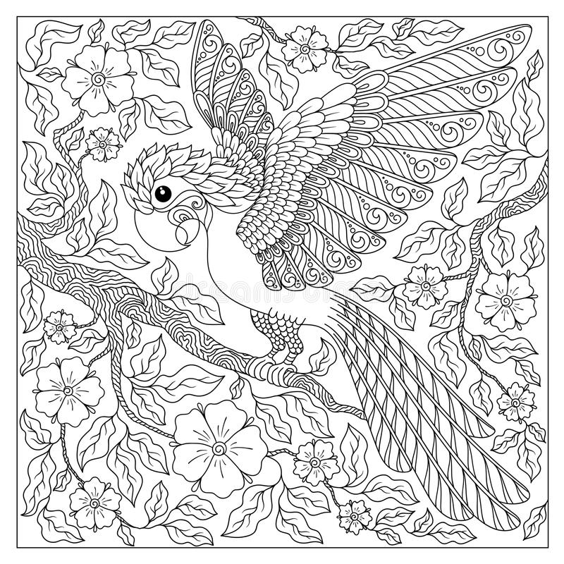 Line Art Jungle Animals : Exotic bird fantastic flowers branches leaves stock
