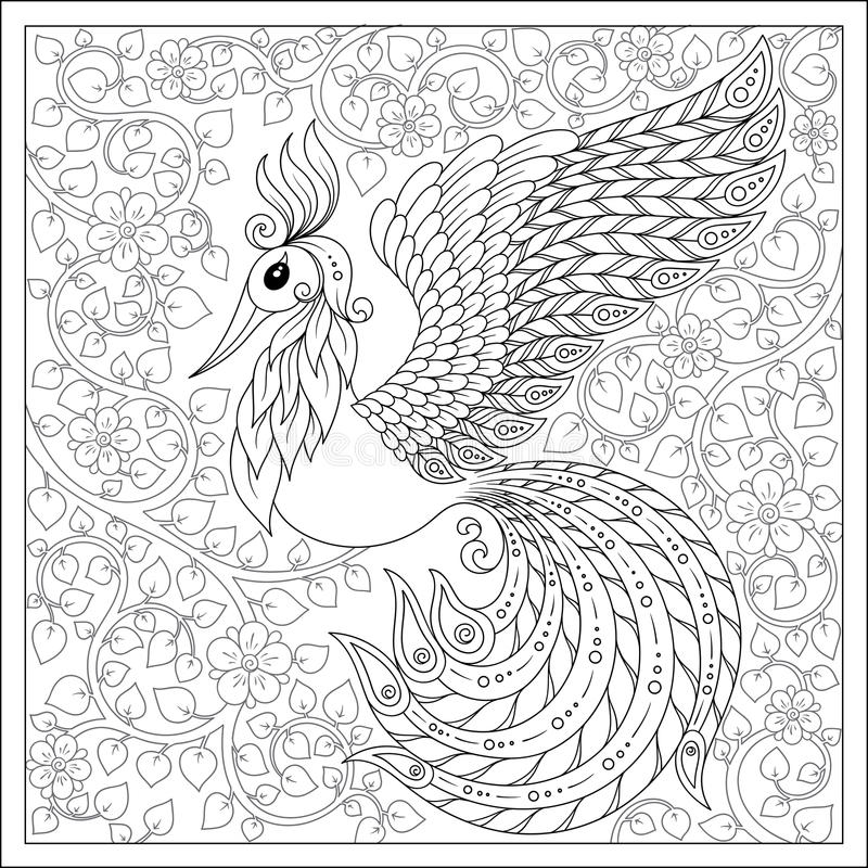 Exotic bird,fantastic flowers,branches, leaves. Set of illustra stock illustration