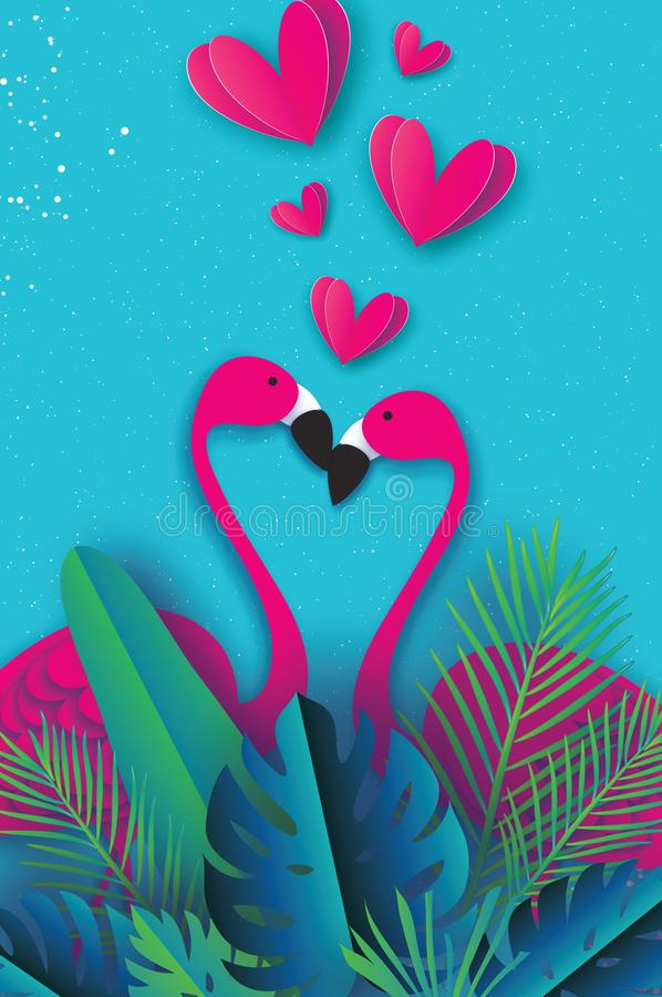 Free Exotic Birds Love. Flamingo Couple. Beautiful Pink Bird. Tropical Jungle. Palm Leaves. Love With Paper Cut Hearts Stock Photos - 106621913