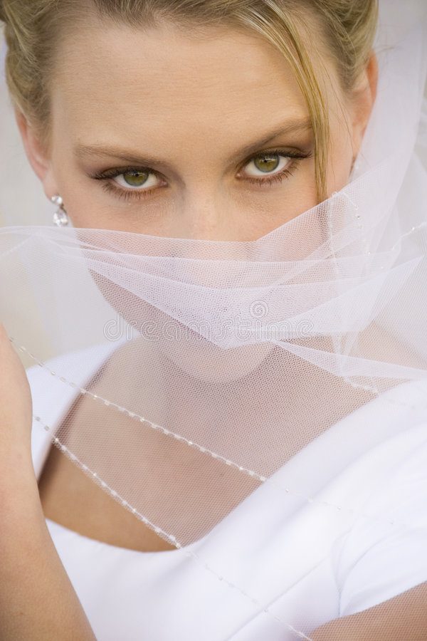 Exotic Bride Covers Face with Veil stock image