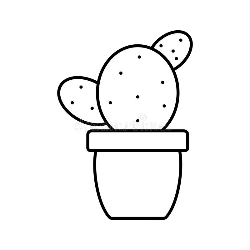 Exotic cactu plant in ceramic pot. Vector illustration design royalty free illustration
