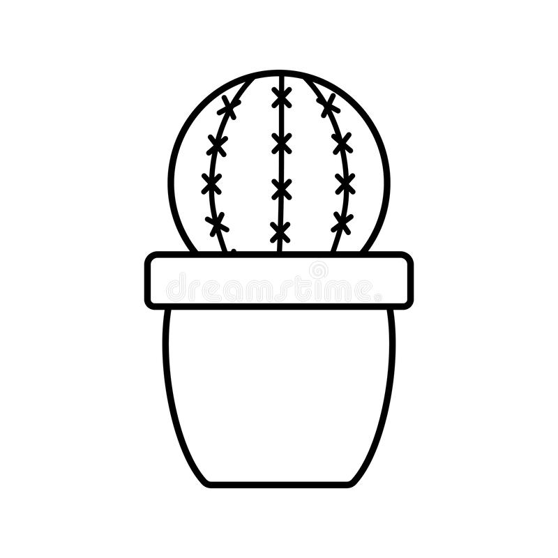 Exotic cactu plant in ceramic pot. Vector illustration design stock illustration