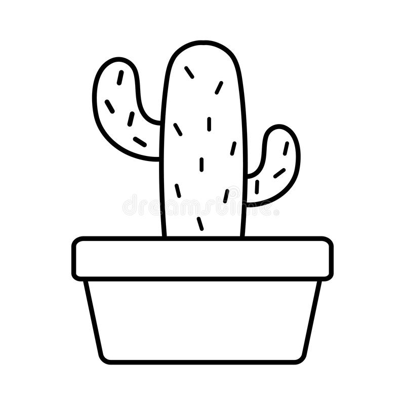 Exotic cactu plant in square ceramic pot. Vector illustration design royalty free illustration