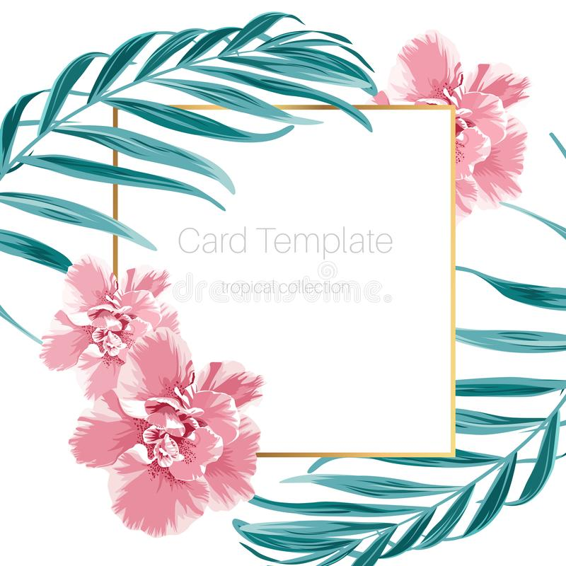 Exotic camelia flowers and green tropical jungle palm tree leaves. Border frame card banner flyer template. Text placeholder. Clean white background. Vector royalty free illustration