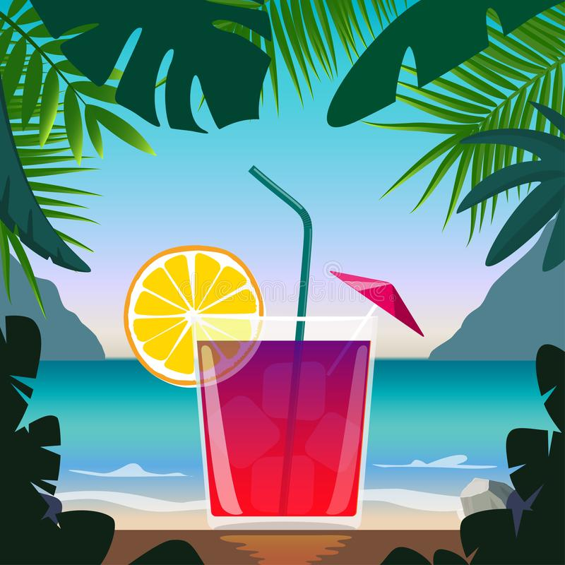 Exotic cocktail in beach bar on seashore. Cocktail with straw, lemon wedge and umbrella, surrounded by tropical leaves. Summer vac royalty free illustration