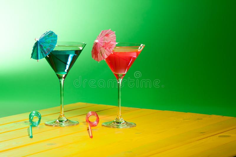 Exotic cocktail drinks. Summer vacation beach party alcohol. stock images
