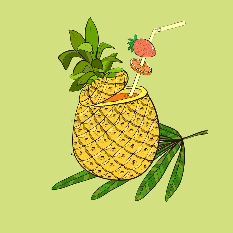 Download Exotic Cocktail In Pineapple Stock Image - Image: 39033729