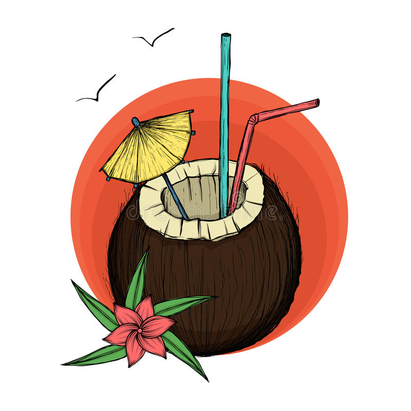 Download Exotic Coconut Cocktail. Vector Illustration Stock Vector - Illustration of food, flowers: 90635893