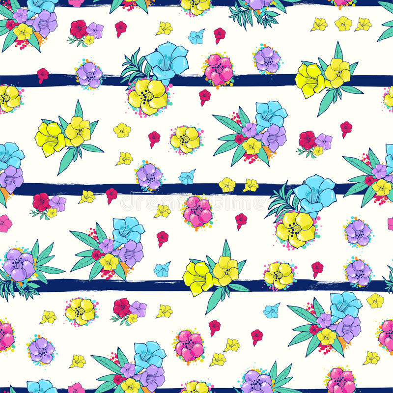 Exotic colorful flowers on a white-blue background with stripes. Vector seamless pattern. Exotic flowers on a white blue background. Floral ornament. Digital vector illustration